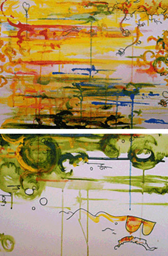 12.10.09  > The Duplex > Pair of 24x18 inch Acrylic Painting on canvas > NOT AVAILABLE FOR PURCHASE