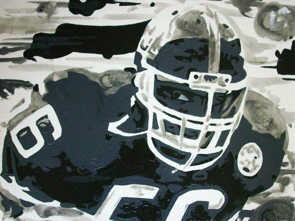 11.22.09  >   Sorry Birds Nation. Im Friends With Too Many Dam Giants Fans. > 24x18 inch Acrylic Painting on canvas > NOT AVAILABLE FOR PURCHASE