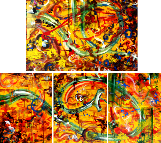11.28.09 > The Ride > Set of 4 Acrylic Paintings on canvas. 1 36x24, 3 18x24. > NOT AVAILABLE FOR PURCHASE