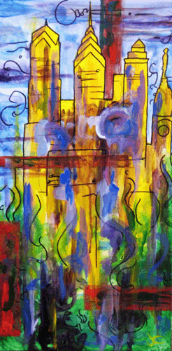 10.1.09  > The City > 12x24 inch Acrylic Painting on canvas > NOT AVAILABLE FOR PURCHASE