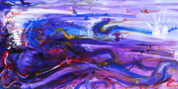 9.27.09  > Four Finger Weaving > 48x24 inch Acrylic Painting on canvas > NOT AVAILABLE FOR PURCHASE