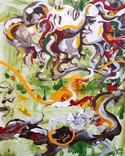 Lyrical Hugs > 16x20 inch Acrylic Painting on canvas