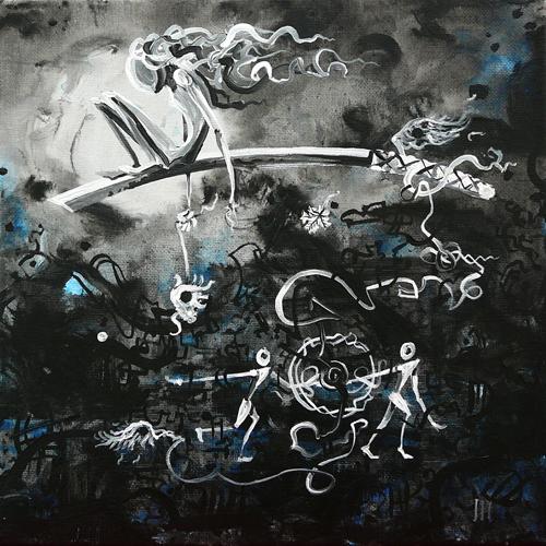 Bird On The Edge > 12x12 inch Acrylic Painting on canvas
