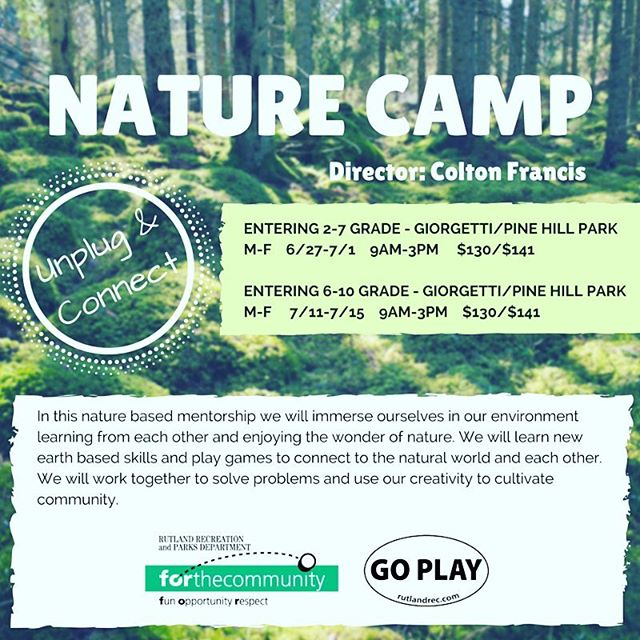 Schools almost out for the summer! Dont forget to register for camps! Here's one that's approaching! We will post upcoming camps and deadlines throughout the summer! Don't wait! #rutlandrecsummer #rrdcamps #rutlandvt #rutvt