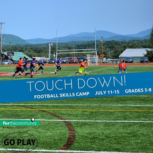 Don't miss out on football skills camp next week! Head on over to rutlandrec.com to register (link in bio) or come on into our office! #rutlandrecsportcamps #rutlandvt #rutvt