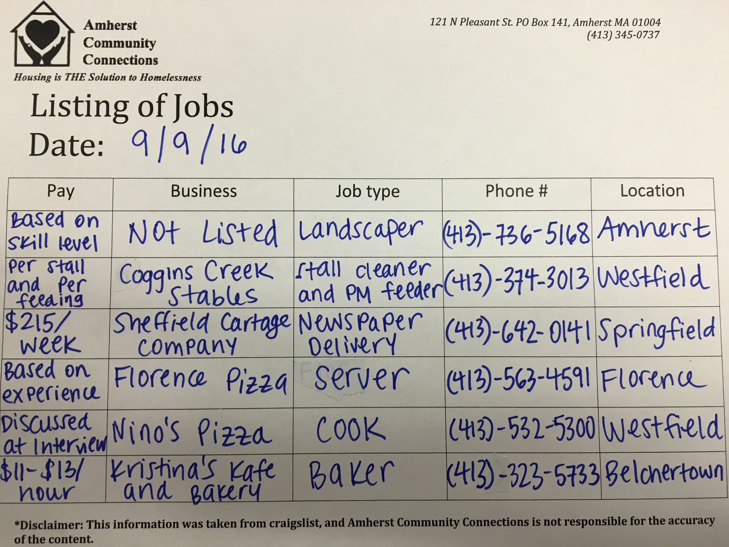 Job Listings Friday, 9/9/201 — Amherst Community Connections