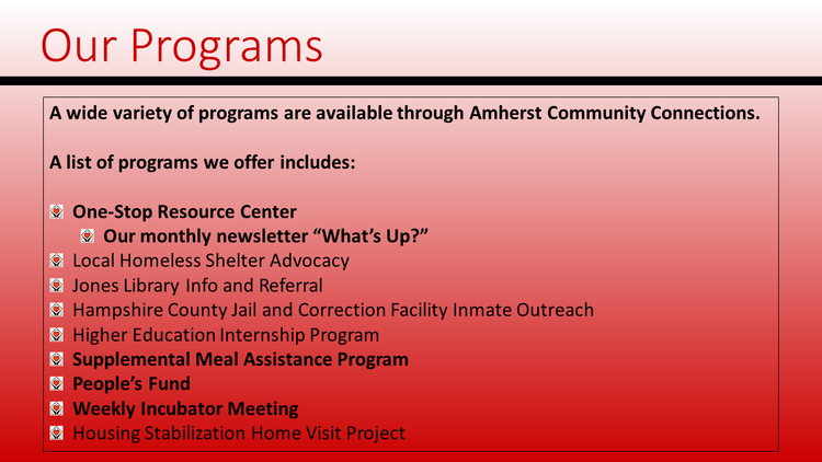 Our mission — Amherst Community Connections