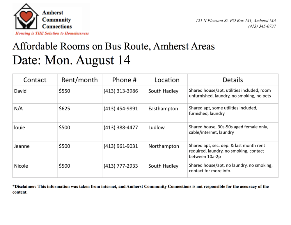 ROOM LISTING — Amherst Community Connections