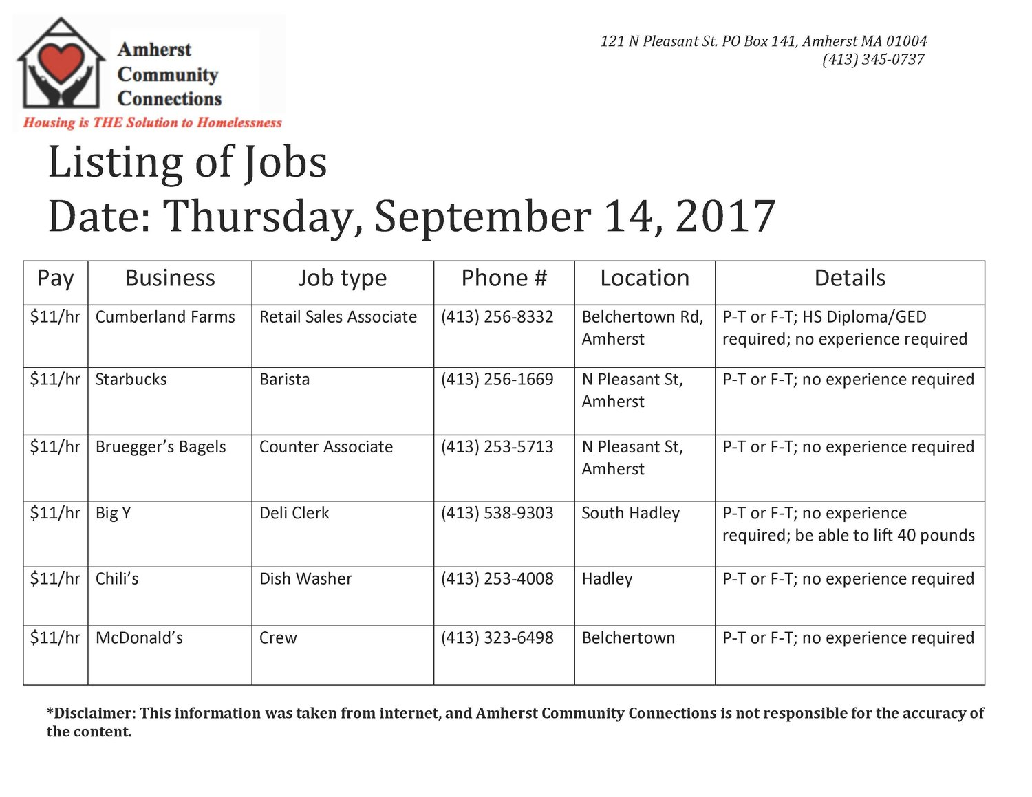 JOB LISTINGS — Amherst Community Connections