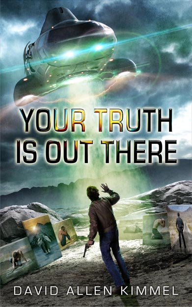 Front cover for my first ever novel - Your Truth is Out There. Art by Stephen Youll. Design by Jamie Youll