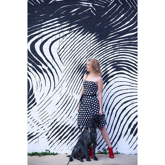 #dogintraining for #posing in #fashionlook #redshoes  #polkadotdress #blackandwhite  #model  @dcheyn #gainesvillefl at Hector Gallery #art #mural #inspiration @2alasofficial #bestofgainesville #doglover  #petsofinstagram  #petsofgainesville  #cannellecallardphotography #fashionphotoshoot #gainesvilleflorida