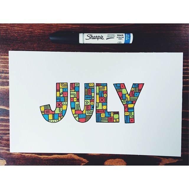 July guys… #illustration #drawing #doodle #art #sharpie #prismacolor #markers #type #typography #handdrawn #july  (at turtle's lair)
