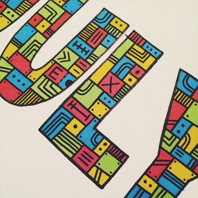 Making progress… #illustration #drawing #process #wip #art #doodle #type #typography #sharpie #prismacolor #markers #july #month  (at turtle's lair)