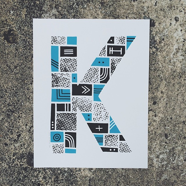 Kilo #screenprinting #screenprint #illustration #drawing #print #k #letter #alphabet #type #typography #kay #sorrynotsorry #ketchup (at Printers Anonymous)