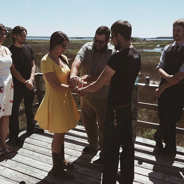 Today my cousin @memartelli literally tied the knot with her fiancé Evan. It's was pretty cool. #maggiesgettingmarried #northcarolina #family #cousins