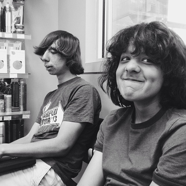 My brothers, Christopher (left) and Andrew (right). They've had long hair for probably 4 years now. They decided that it was finally time to get it all cut off.  (at Great Clips)