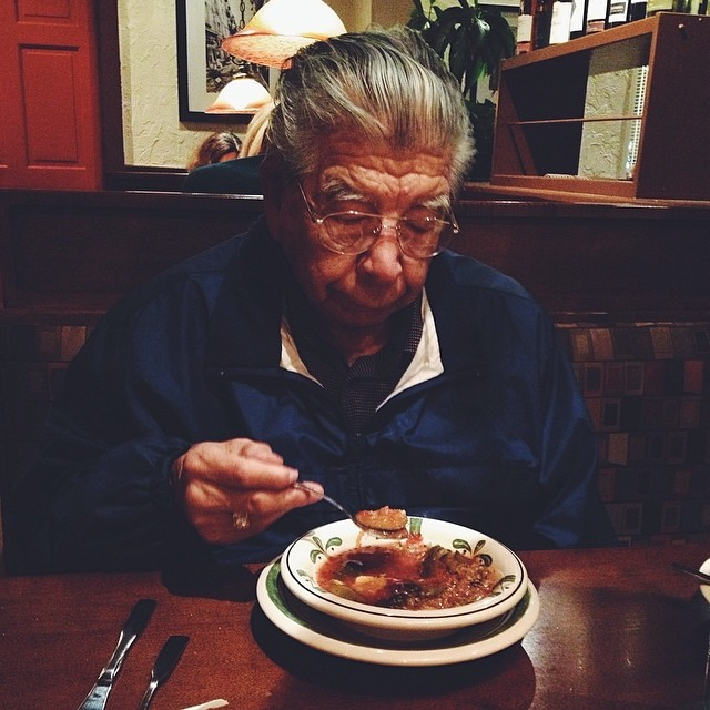 Took my Grandpa and Cousin Tony to dinner tonight. My Grandpa cracks me up. He's the best. Luckily he didn't try and get to handsy with the waitress haha.
