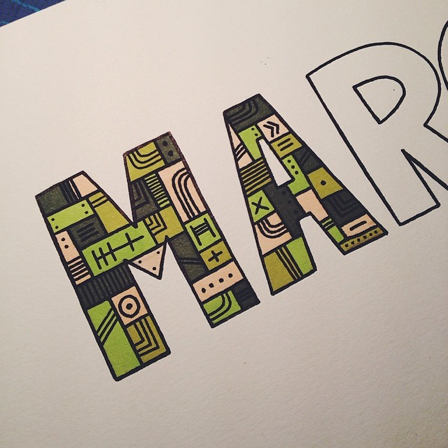 Ma…r… #illustration #drawing #doodle #type #typography #letters #sharpie #prismacolor #markers  (at turtle's lair)