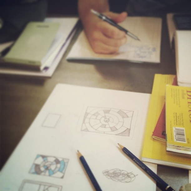 Doing some drawing  at Bold Bean with @averagejim …