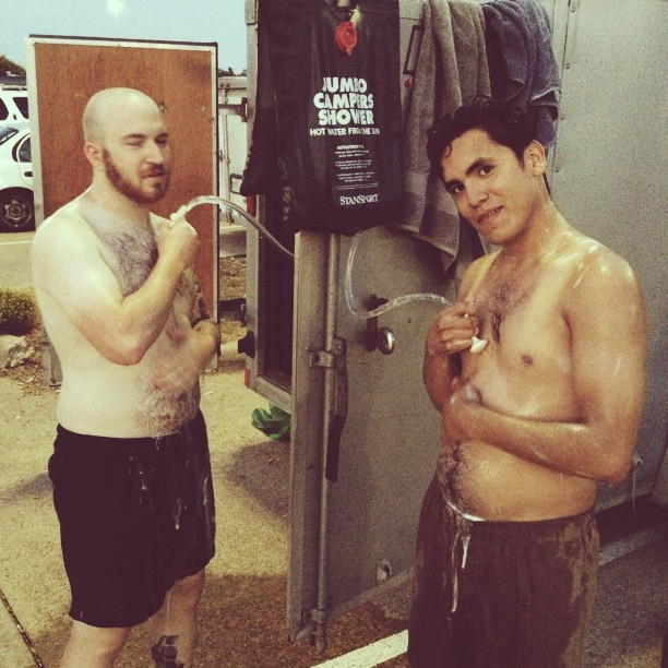Shower time boys…. #thesheds #warpedtour #shower