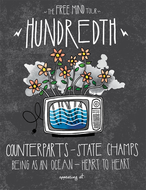 A tour admat I recently designed/illustrated for my dudes in Hundredth.