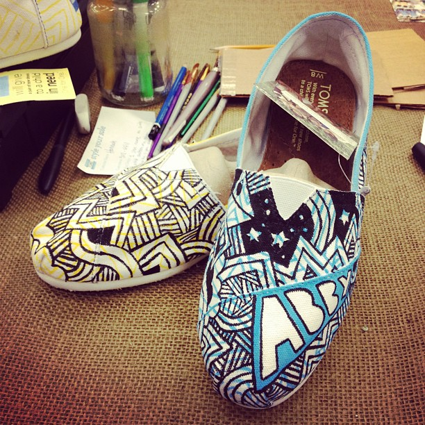Second pair of shoes I painted from the TOMS event at Aqua East…