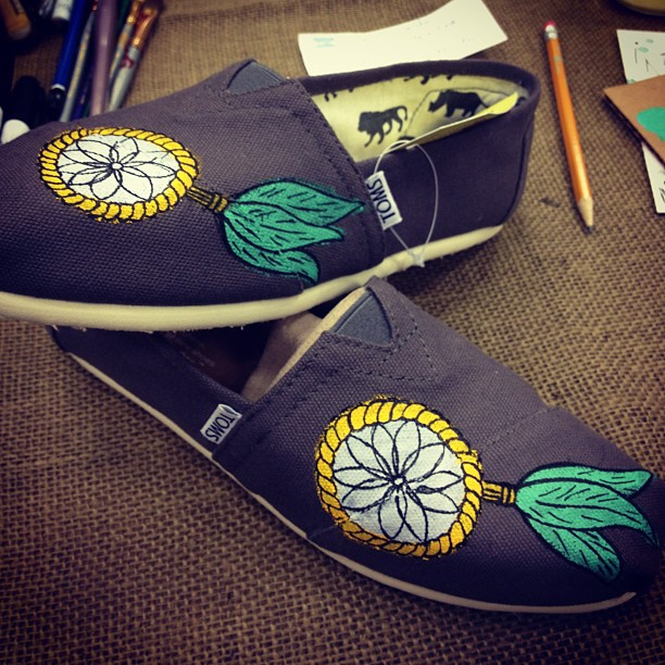 First pair of show i painted today for the TOMS event at Aqua East