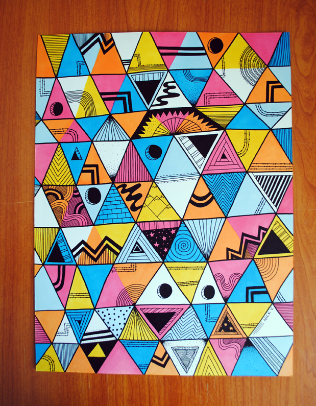 Triangles   14 x 17 Bristol   Prismacolor Markers   and Sharpie Poster Paint Markers