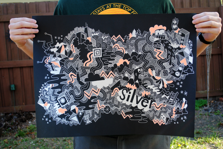Hi! Ho! Silver! 18×24 Ink on black paper Buy it here