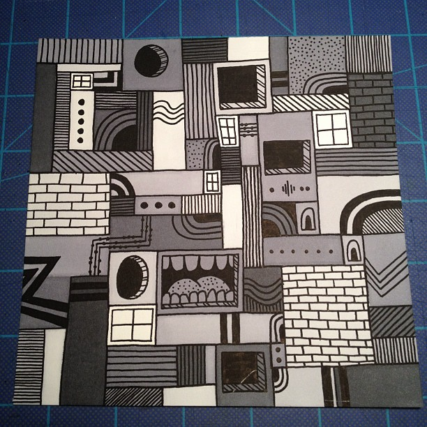 Gray Lines… 6 x 6 Marker and Paint Pen on Bristol