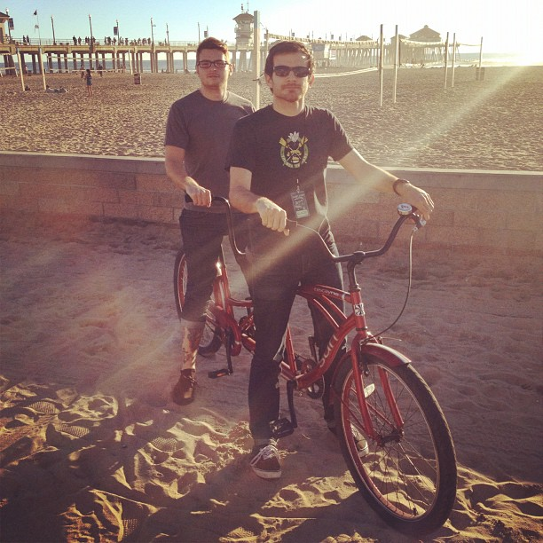 Poops and Evan tandem bike ride in Huntington Beach…