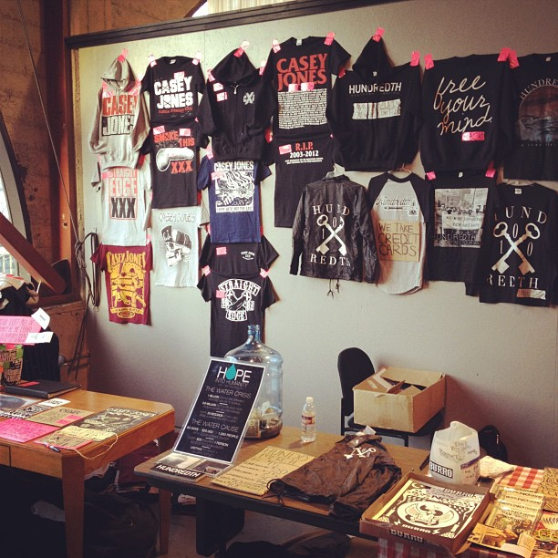 Merch setup in San Francisco (at Club Retro San Francisco) on the Final Casey Jones tour…