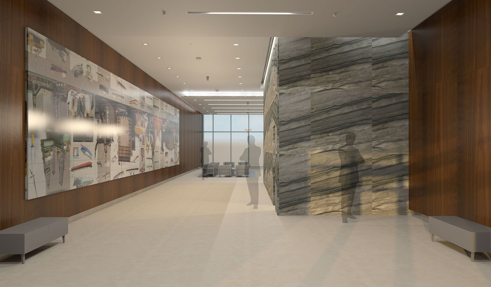 Lobby Rendering with Sequoia Brown (stone) and Fumed Red Oak (Wood)