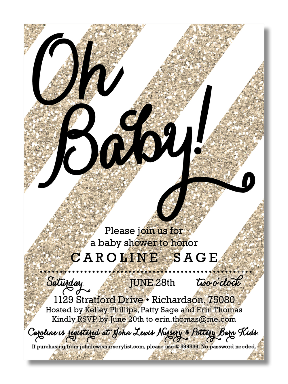 invitation glitter baby shower