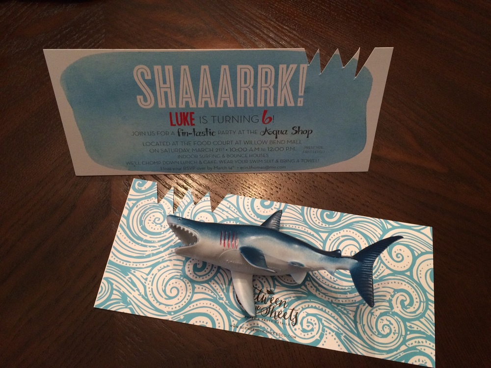 shark party invite custom diecut