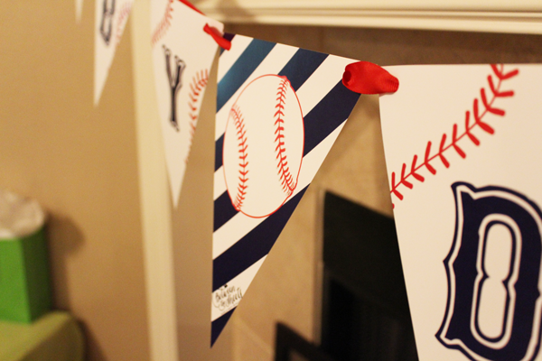 decoración fiestas infantiles  Realiza una fiesta Home Run banner bunting baseball custom party
