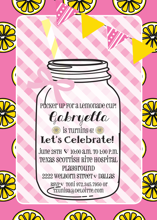 birthday party lemonade invitation custom