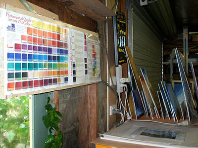 Colour charts and drying racks for small paintings