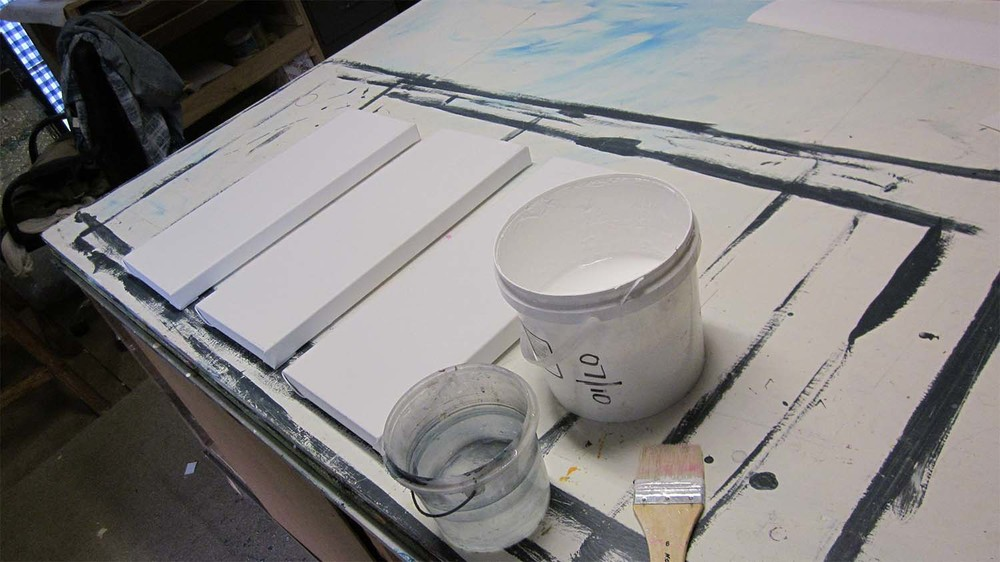 Getting ready for the first coat of Gesso..