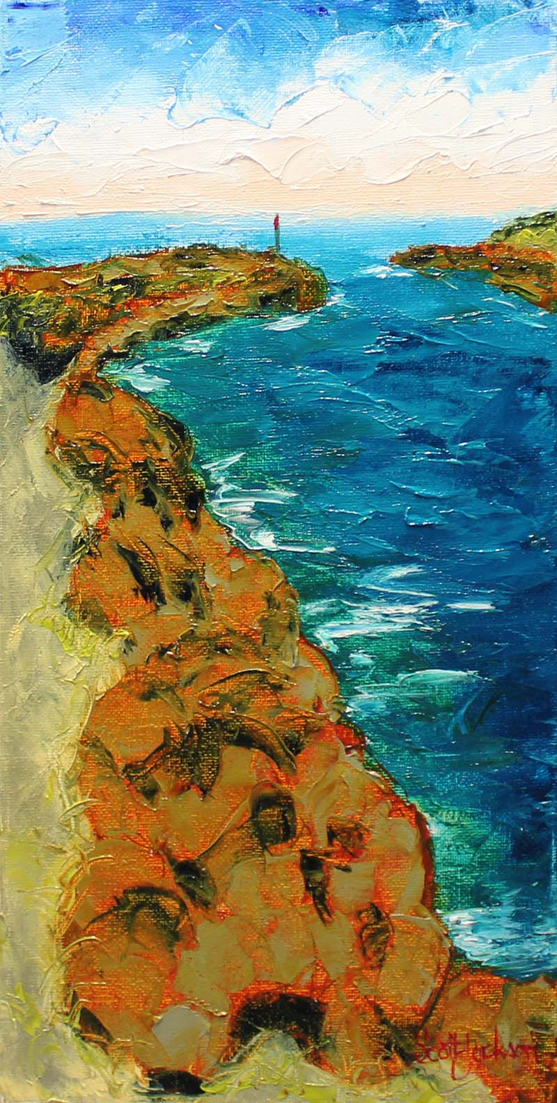 "Breakwalls at the the river mouth are another common theme I enjoy painting. They are very common on the east coast of Australia were the many rivers enter the sea.  Title ""  Breakwall Light ""  40cm x 20cm , Oil on Canvas, ready to hang,  $160 aud"