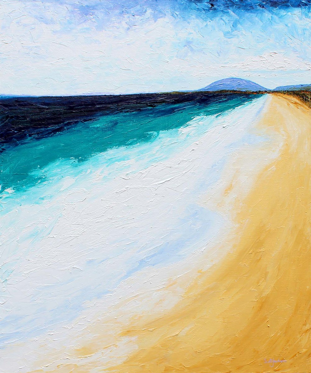 """  The Beach "" was inspired by the view looking south at Lighthouse Beach , Port Macquarie, NSW, down to middle brother mountain in the distance. I love beachscape paintings ...and this one in particular .  Title ""Beach"", 122 cm x 102 cm, oil on Linen, ready to hang, ref 0597,  $1990AUD"