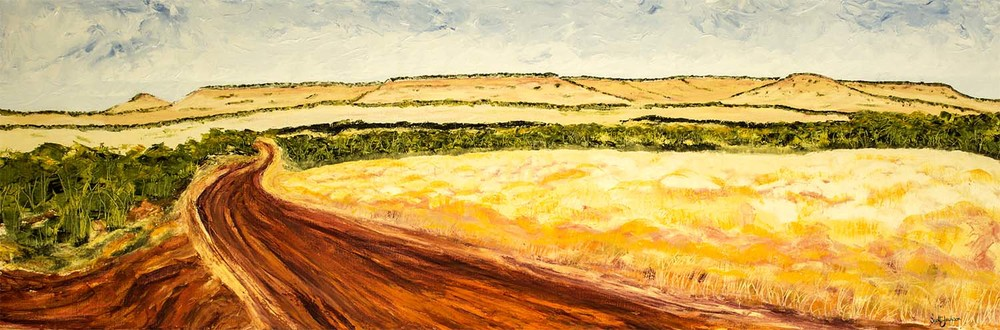 "Travelling through the Eastern Kimberley in Northern Australia is a ""must do"" if you like being on the road. ...rugged beauty everywhere...try the drive Katherine, NR to Broome in WA ..fantastic  Title"" Red Road Country  "" ref 0607, 61cm x 183 cm, Oil on linen, ready to hang,  $1790 AUD"