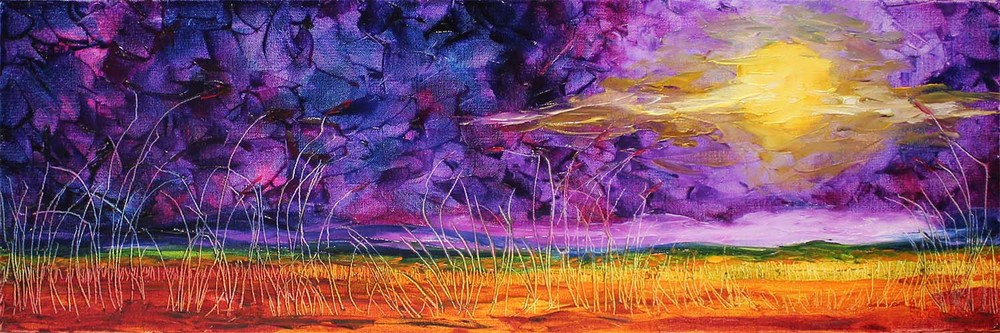 """Title """"In The Darkness of Night"""", 31 cm x 91 cm,ref 0675, oil and wax medium on canvas, ready to hang, $450 AUD"""