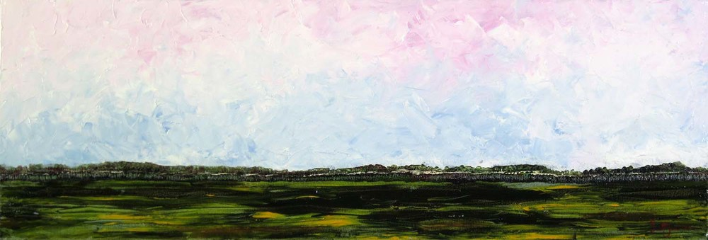 """This striking Painting symbolizes the landscapes of Northern Australia...the rich green of tropical Kakadu are a sight to experience...humid, green and wet,both the sky and the land.. Title """"Top End Green """", 31 cm x 91 cm, oil on canvas, ref 0600, ready to hang, $450 AUD"""