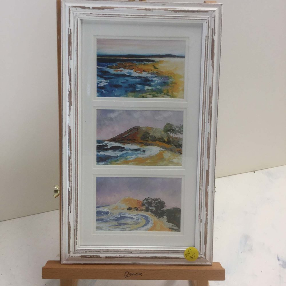 """""On the Coast, $50, Triple 4x6 Photo Print of The Rock , (SWR), Crescent Skies (Crescent Head), Summer Dawn  ( Crescent Head ), Mounted and Matted in Distressed White frame"