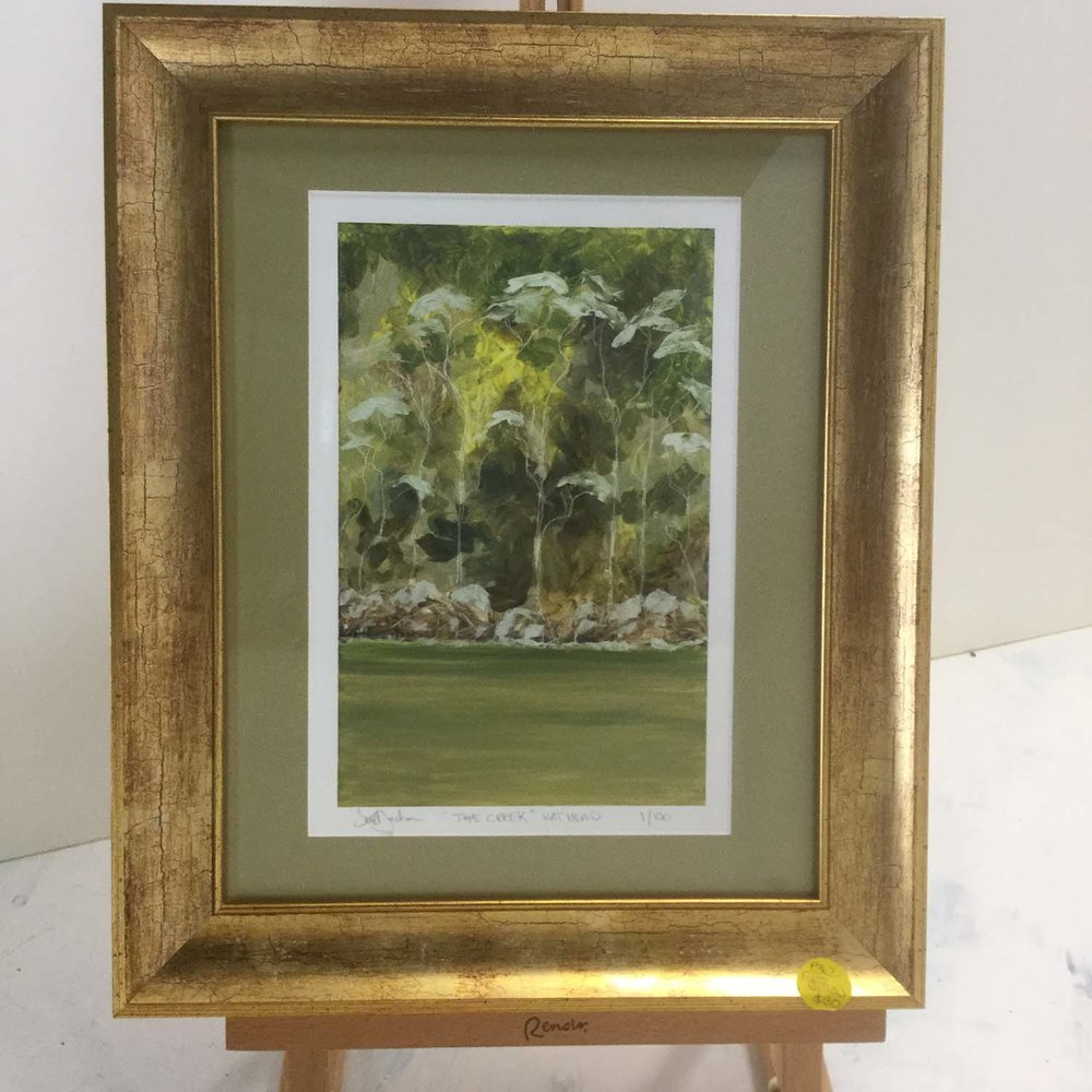 The Creek  (Hat Head) $130, A4 sized Image with Green Mat and Gold Frame. First Edition, Signed, 1/100