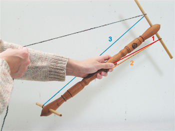 Next, bring the yarn down and around the bottom arm that is away from your body (2), and back up and around the upper left arm (3).