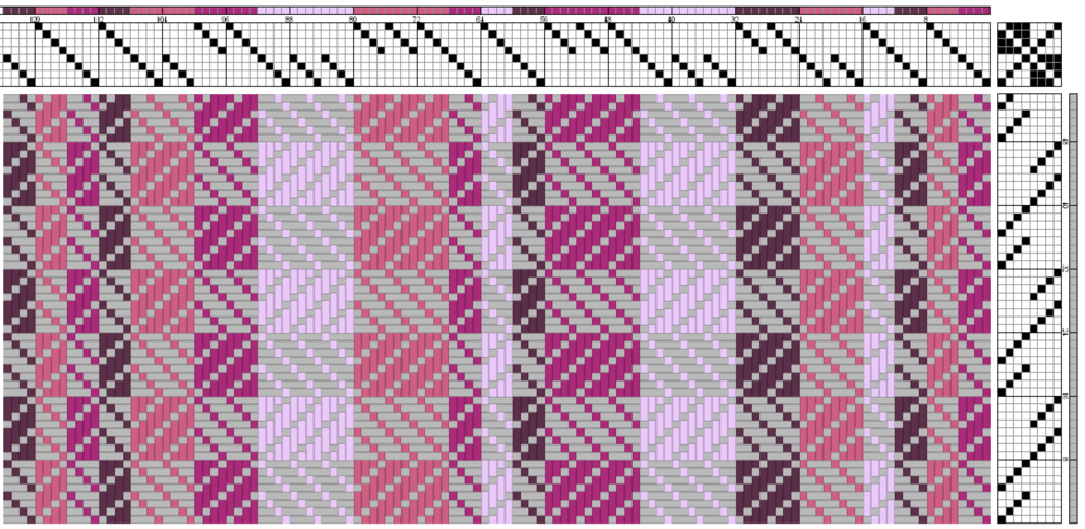 A draft of the scarf pattern from my weaving software.