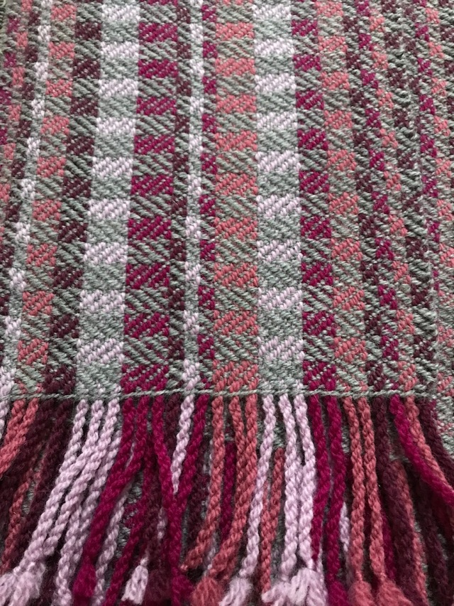 The finished scarf after blocking.