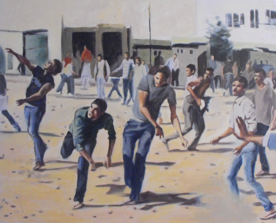 """Rockthrowers I"", Oil on canvas, 75x60, 2011"